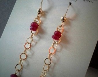 Gold Filled earrings, gold dainty earrings, red Jade earrings, bridesmaid earrings,