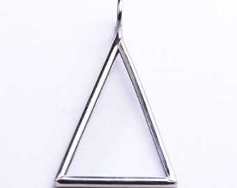 "Glass Pane Pendant, Triangle 2"" x 1"" , 6 pcs silver tone"