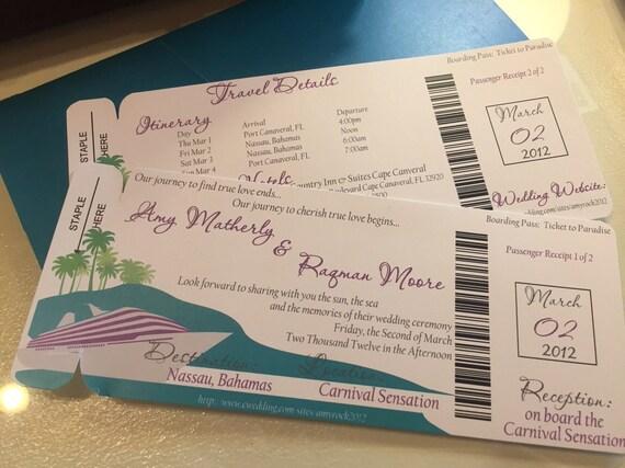 Cruise Wedding Invitations: Cruise Wedding Invitation. Boarding Pass Wedding Invitation