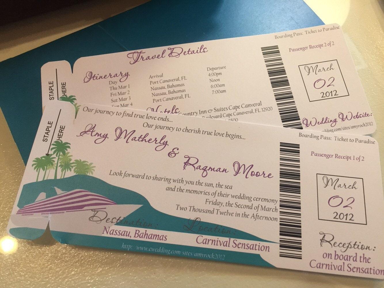 Boarding Pass Wedding Invitation: Cruise Wedding Invitation. Boarding Pass Wedding Invitation