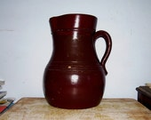 PITCHER Jug Antique Stoneware Batter Colonial Brown Slip Pottery