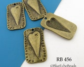Folk Art Style Heart Charm Rectangle Antique Brass Charm 27mm (RB 456) 4 pcs BlueEchoBeads