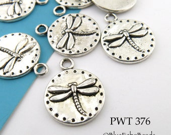 15mm Small Dragonfly Charm Pewter Antiqued Silver Coin Charm (PWT 376) BlueEchoBeads 8 pcs