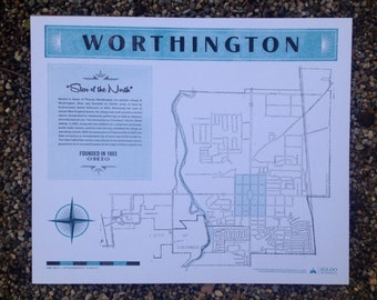 Vintage Letterpress Map Poster of Worthington, Ohio