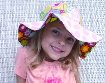 Big sun hat for toddlers, wide brimmed uv protection with birds and polka dots, cute sun day hat