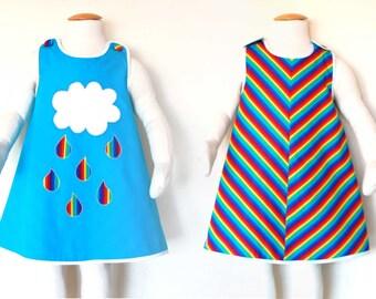 RAINBOW girls reversible dress, toddler birthday party dress, rainbow applique girl dress, baby girl rainbow dress, baby girl gift