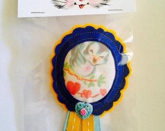 Felt Blue Bird Valentine Badge Brooch Pin