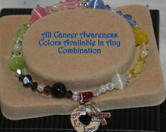 CUSTOM Selection All Cancer Colors Alone or In Any Combination of Your Choice Stretch Bracelet Hope Ribbon Heart Charm