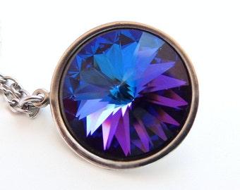 Purple crystal necklace - peacock blue necklace - purple crystal - blue crystal necklace - heliotrope necklace - Swarovski - crystal pendant
