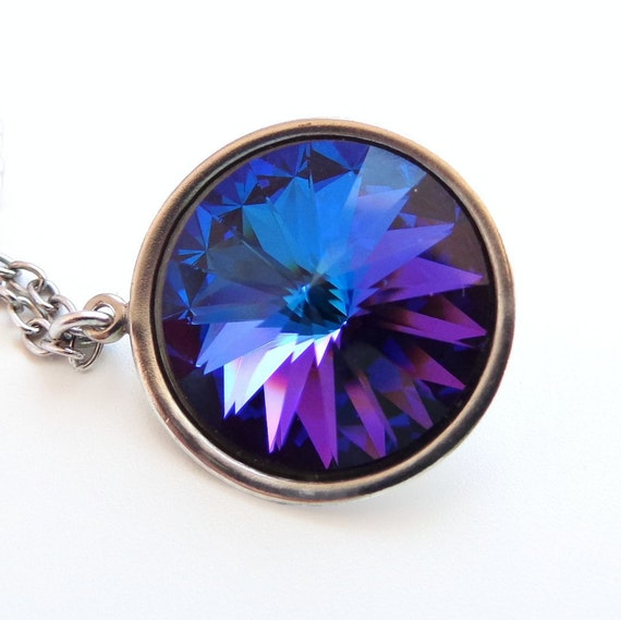 Heliotrope Crystal Rivoli Necklace - Peacock Blue Necklace