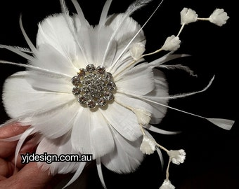 Flower Bridal Fascinator, Feather Hair Accessory, White Wedding Fascinator, Ivory Wedding Headpiece, NIRVANI
