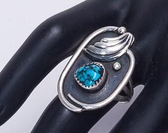 Spiderweb Turquoise Ring - Godber/Burnham - 70s Sterling -  sz 6 1/2