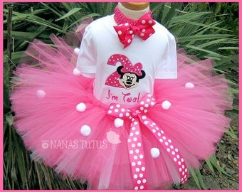 2yrs, Ready to Ship, 2rd Birthday, Hot Pink Minnie, Party Outfit, Theme Party