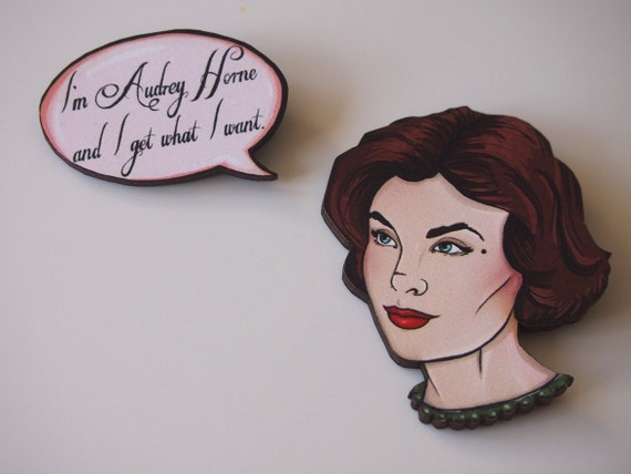Twin Peaks Audrey Horne - 2 Part Laser Cut Wood Brooches