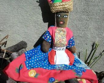 Vintage  Large Jamaican Cloth Folk Art Doll Sale