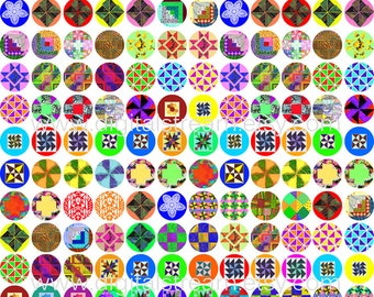 Quilt Block Design Circles 16mm 5/8 Inch Size Digital Collage Sheet 180 Images for Snap Jewelry