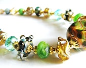 Spring Green Lampwork Necklace, Artisan Sculptured Glass, Swarovski Crystals, Gold Vermeil Gold Filled Necklace, Luxe Jewelry