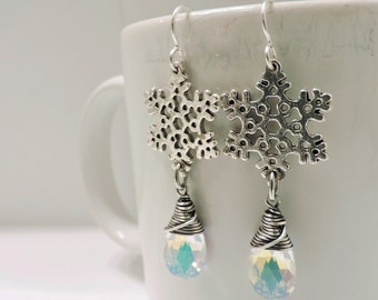 Silver Snowflake and Icy Blue Swarovski Crystal Earrings