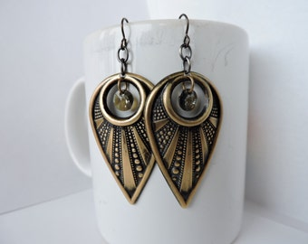 Futuristic Antique Brass Statement Earrings with Bronze Swarovski Crystals