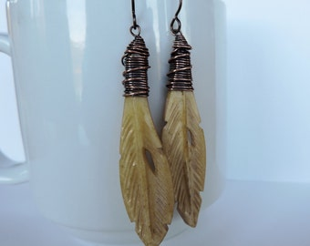 Wire Wrapped Copper and Antiqued Carved Bone Feather Earrings