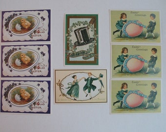 Postcards:  6 Easter and 2 St. Patrick's postcards, unused good condition, vintage prints of antique Victorian designs spring Scrapbooking