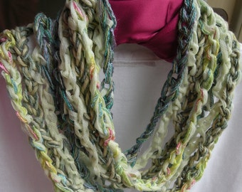 Crochet fashion scarf, women's multicolor skinny knit pale green yellow pink cotton fiber art freeform i754 Life's an Expedition