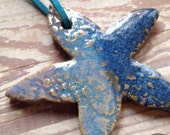 STARFISH Keepsake Ornament Ocean Blues.  Hand glazed and sugned cnc dated