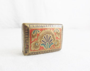 Old Ornate Brass and Enamel Box Trinket Pill Snuff