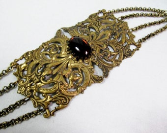Antique Buckle Ornate Victorian Brass  Buckle with  Amber Glass Cabochon Chain Loops