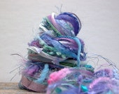 hydrangea blooms fringe effects™  21yds of specialty art yarns fiber bundle . periwinkle lavender lilac aqua turquoise wisteria purple blue