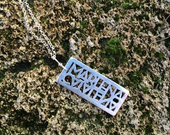 Custom Name Box Necklace- name cutout necklace