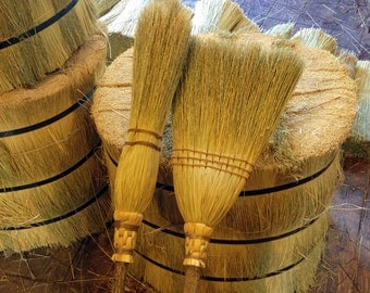 The Kitchen Broom & Witch's Besom Set in your choice of Natural, Black, Rust or Mixed Broomcorn - Kitchen Witch Sweeping and Rituals