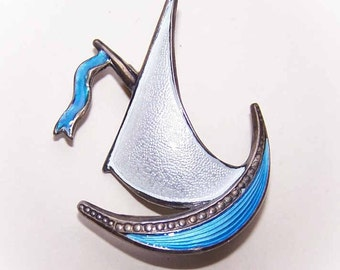 Vintage STERLING SILVER & Enamel Pin/Brooch from Norway - Viking Ship