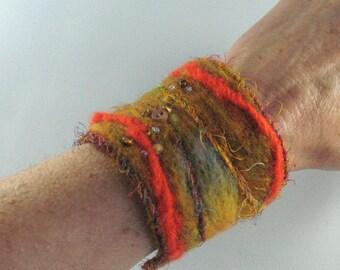 Felted Wrist Cuff, Warm Orange Gold