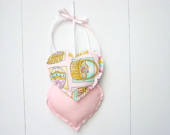 Easter Heart Hangings, Hearts Wall hanging, Fabric Wall Hanging, Easter Decorations