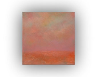Small Abstract Landscape- Original Orange and Pink Oil Painting- 12 x 12 Sky Clouds and Field Palette Knife Art on Canvas