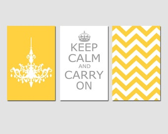 Keep Calm Carry On, Chevron, Chandelier Trio - Set of Three 11x17 Prints - CHOOSE YOUR COLORS - Shown in Yellow, Gray, White and More