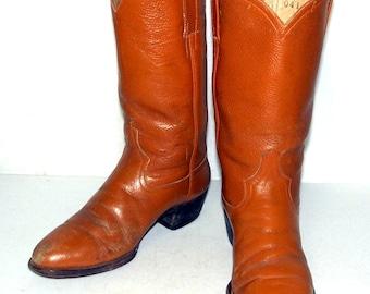 Vintage Caramel Tan Cowboy Boots mens size 8 - 8.5 D / womens size 9.5 -10