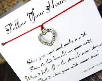 Follow Your Heart - Wish Bracelet - (Silver Rhinestone Heart) - Shown In The Color CHERRY- Over 100 Different Colors Are Also Available