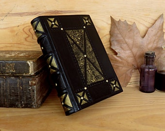 Leather Journal / Blank Book - Black Leather, Brass Decoration, Gold Painting
