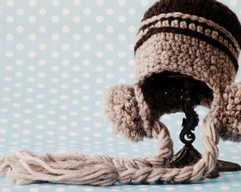 Cute Baby Accessories Brown Baby Hat with Pompoms Handmade Earflap Baby Hat Winter Hat Newborn Cozy Beanie Hat