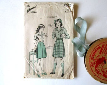 Vintage Sewing Pattern 1940s Advance Pattern 9635 Girls Size 12 Blouse Skirt School Outfit Tailored Styling