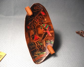ASHTRAY with CHILEAN  DANCER made of Copper from Chile,Chilean Souvenir Ashtray made of Copper with Image of Cueca Dance,Copper Ashtray