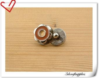 17mm hexapetalous flower Magnetic Snaps bag button purse Magnetic Snaps button COFFEE F64