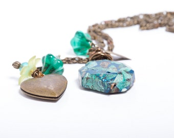 OOAK Teal Blue Heart Vintage Style Necklace Wire Wrapped, Czech Glass, Heart Locket