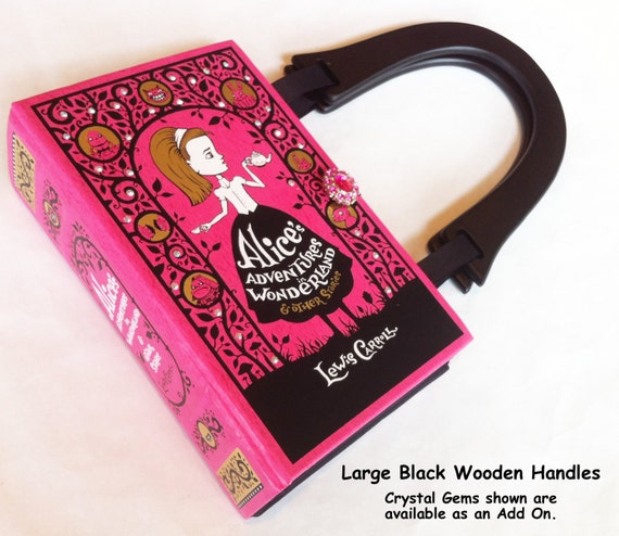Alice In Wonderland Book Purse - Mad hatter Book Clutch - Tea Party Gift - Cheshire Cat Book Cover Bag