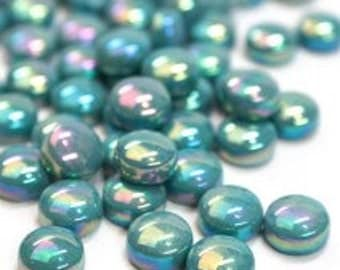 Pretty Teal Glass Gems 12mm Iridized Green Mosaic Glass Gems Pearlescent Teal Glass Nuggets Glass Gems Mosaics Crafts Jewelry