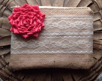 Coral Bridesmaid Clutch - Bridesmaid Gift - Rustic Wedding - Coral Clutch - You choose the flower color and lining