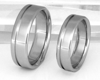 Titanium Wedding Band Set - Titanium Engagement Set - Titanium Promise Ring Set - stn2