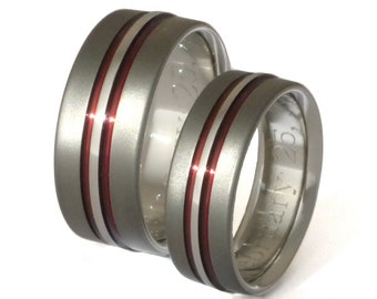 Thin Red Line Titanium Wedding Band Set - Matching His and Hers - Red Rings - stsa20 Red